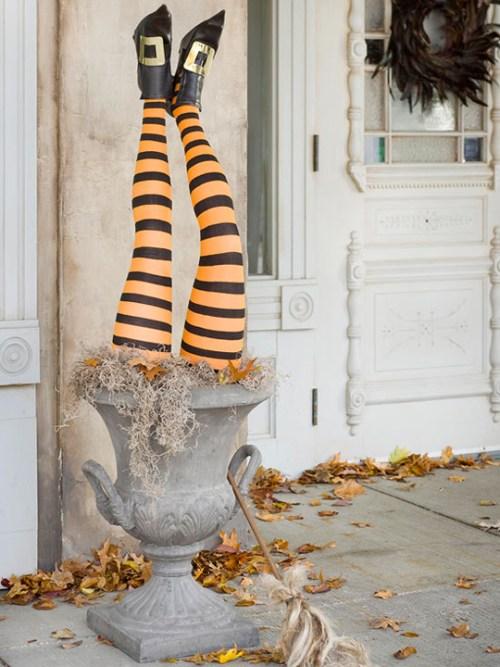: Wacky Halloween Decorations Decor Witch Legs Stripes Urn Planter Porch Front Door DIY