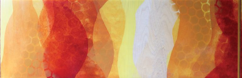 """How Sweet (the Sound)"" by Meghan MacMillan, acrylic on birch, 12x36"", 2014-15"