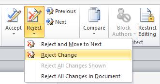 reject change drop down