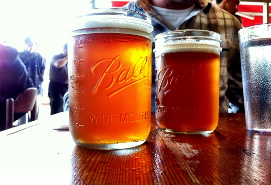 Oakland Brewing Company IPA served in a Mason Jar of course!
