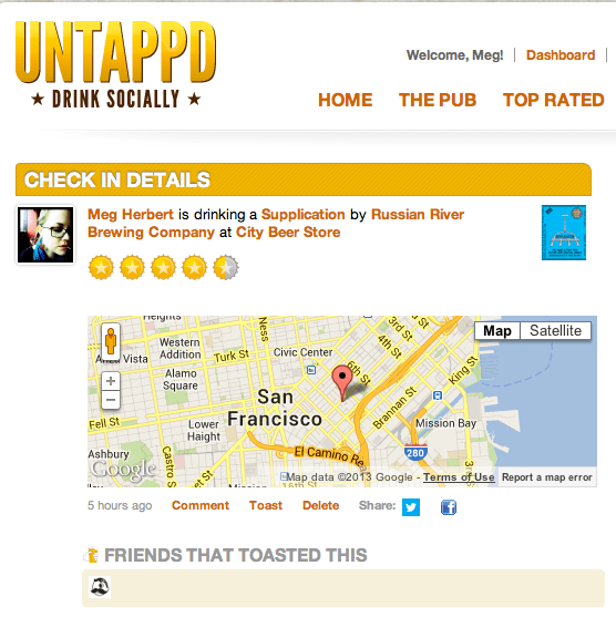 City Beer Store checkin on Untappd