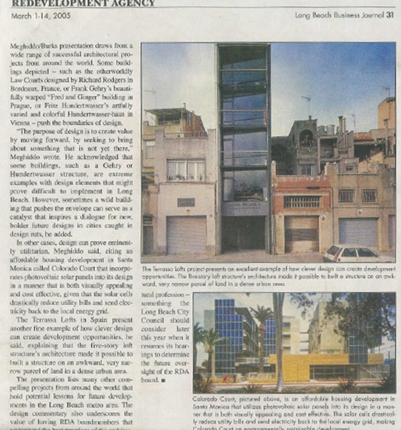 Rick Meghiddo, Ruth Meghiddo, Meghiddo Architects, www.architectureawareness.com , www.rick-RE.com , www.naturaltowergarden.com , Long Beach Business Journal, Walker Building, loft, RDA