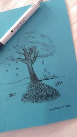 Tree of Seasons - drawn entirely with single black ballpoint pen