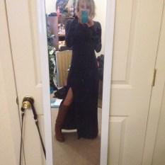 Me trying on a dress that hadn't fit since I bought it because I had lost weight from my flair. It hung like a sack just a month ago.