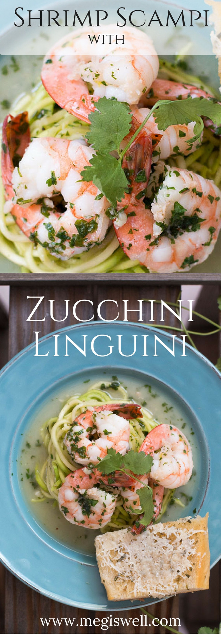 This Shrimp Scampi with Zucchini Linguini is super light and easy but feels fancy. Bursts of cilantro and lime make this a great fresh meal to serve on a hot day with a glass of chilled wine.   www.megiswell.com