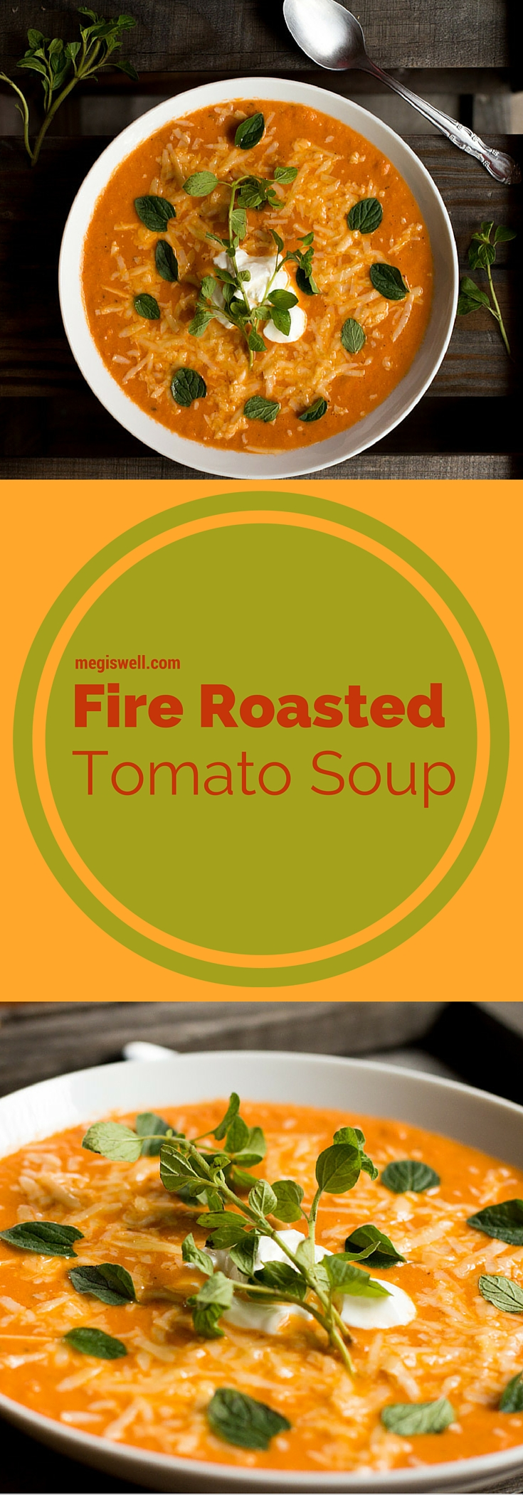 Fire Roasted Tomato Soup. Fire roasted tomatoes and red pepper flakes give this soup some spice while non-fat greek yogurt is used in place of cream, making this a quick, easy, and healthy soup.