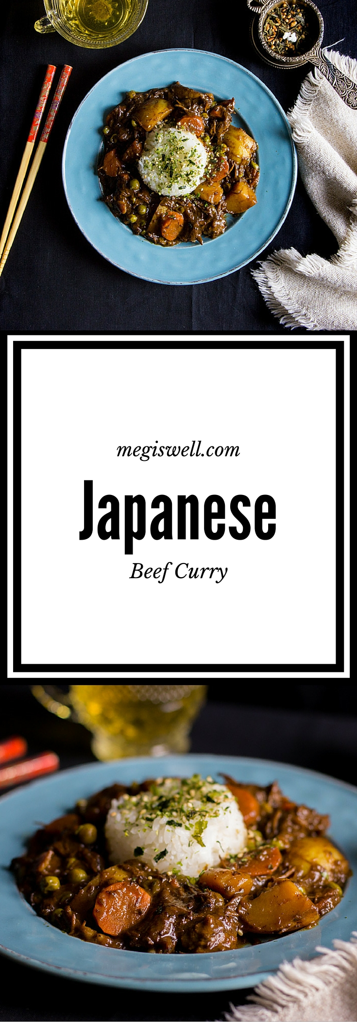 Beef chuck, onions, carrots, Yukon Gold potatoes, apple, and peas slowly simmered in beef stock and warming curry spices creates, from scratch, an amazing Japanese Beef Curry that is totally worth the wait.