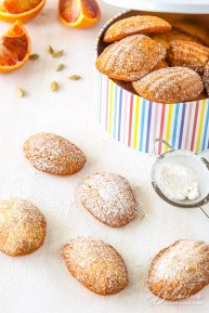 25 Recipes That Use Pistachios - Blood Orange Madeleines with Pistachio and Cardamom from Delicious Everyday