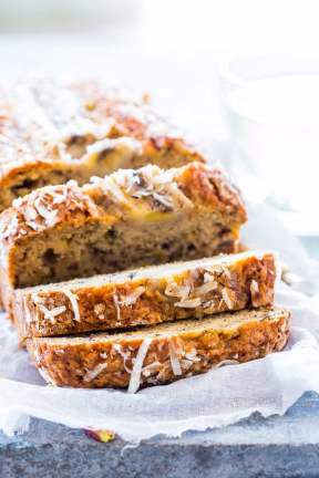 25 Recipes That Use Pistachios - Quick Coconut Pistachio Banana Bread from My Food Story