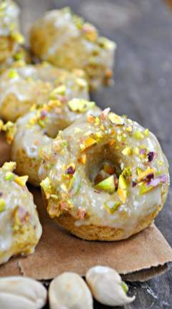 25 Recipes That Use Pistachios - Vegan Orange Pistachio Baked Donuts from Rabbit and Wolves