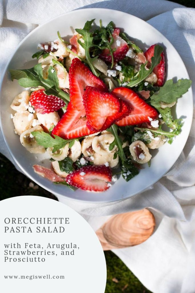 Learn how to make an awesome cold Orecchiette Pasta Salad, which has a salty and peppery kick with a slightly sweet tang. Perfect for picnics! | #pastasalad #picnicrecipe | www.megiswell.com