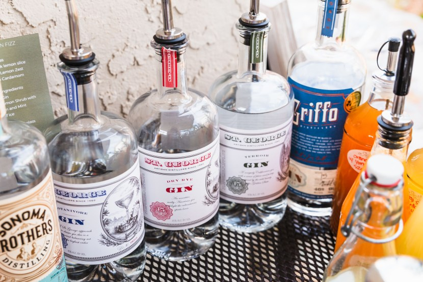 Side shot of St. George Spirit's Dry Rye Gin lined up next to other gins.