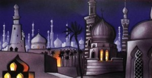 Visual Development by Hans Bacher for Aladdin