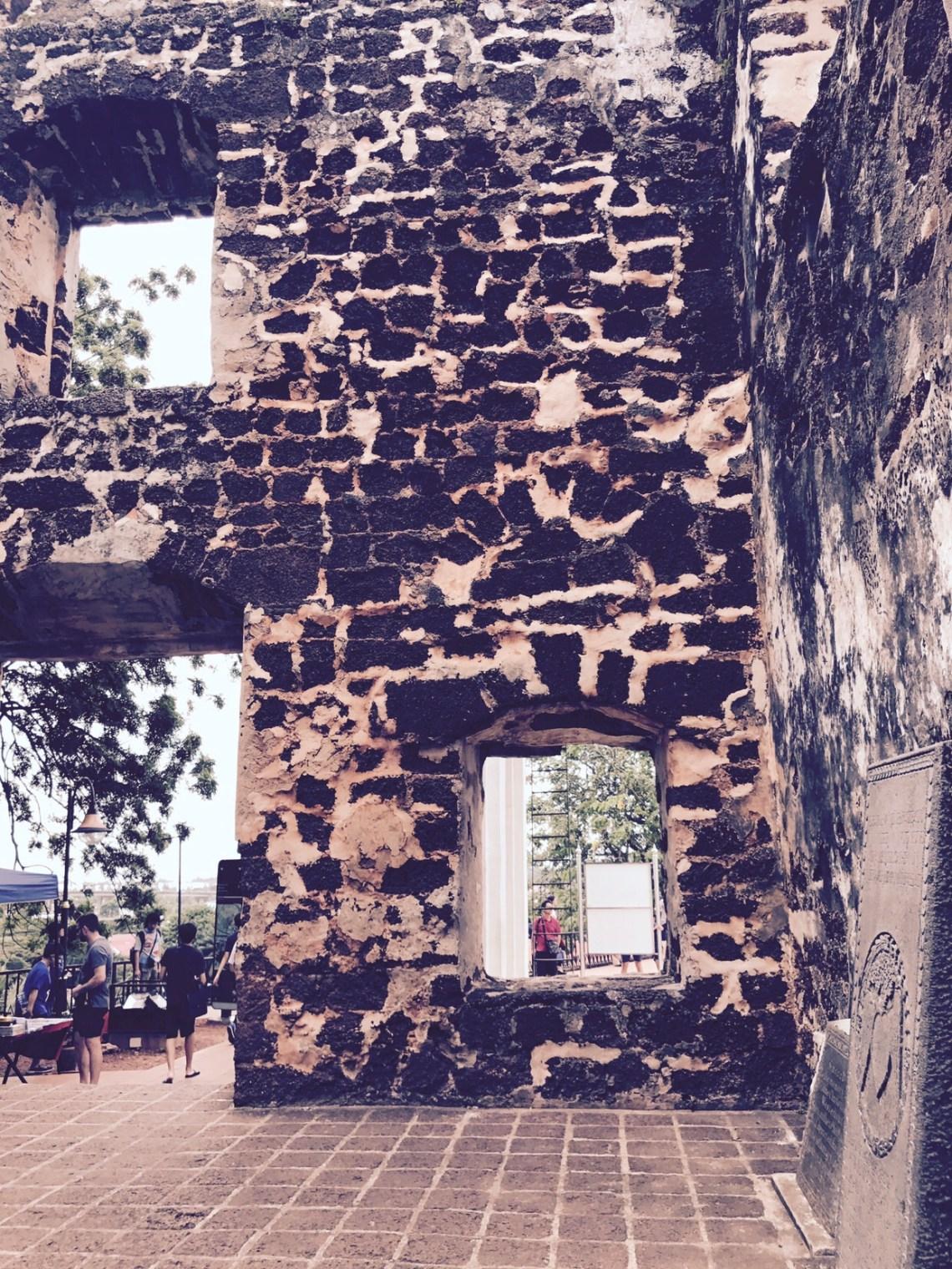 Washed out walls of A'fomosa, Melaka.