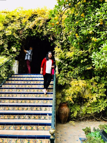 The stairs to the beautiful gardens.