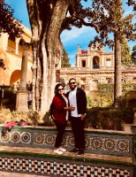 Us at the beautiful gardens of the Royal Alcazar.