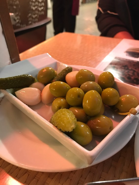 The yumm olives at the cafe of Royal Alcazar.
