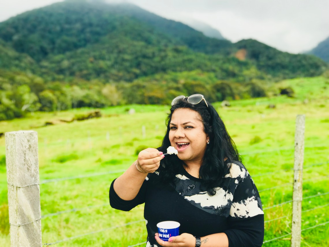 Enjoying the yummy yoghurt icecream at Desa Dairy Farm.