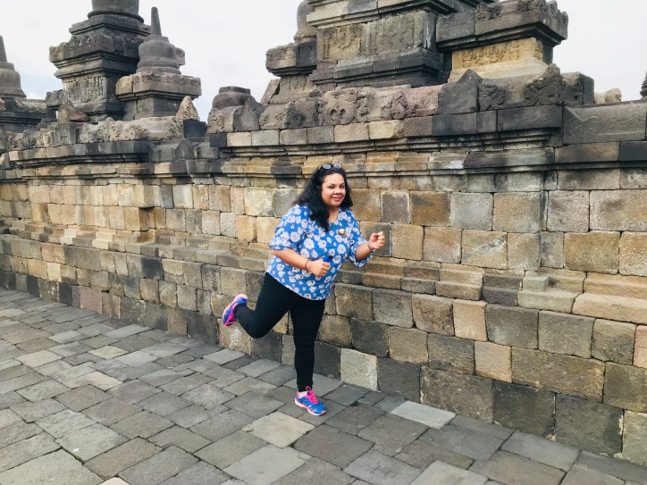 My funny poses for the temple run experience at Borobudur.