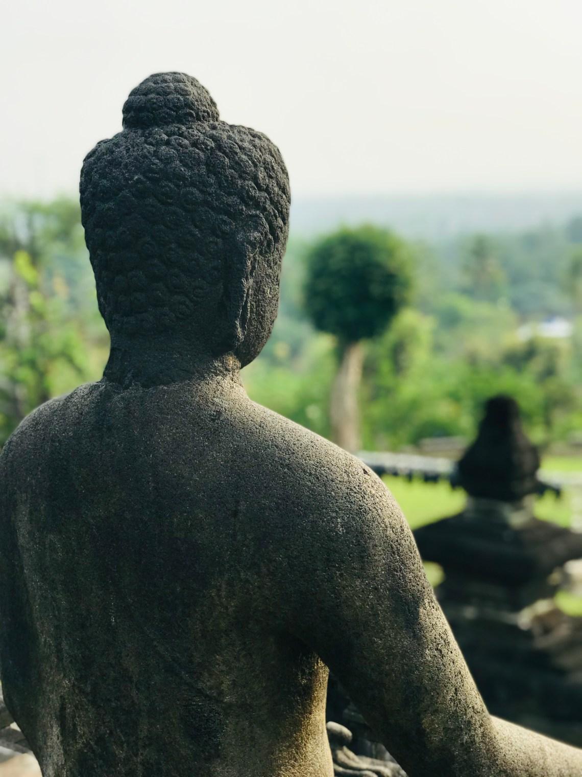 The peaceful Buddha Statue at Borobudur.