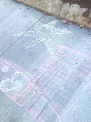 Sidewalk chalk in Brookline, MA (2/24/17)