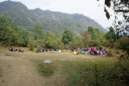 A group of students on a camping retreat