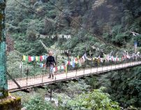 """Just another """"fun"""" bridge on first day of trek…3,000 ft. of gain."""