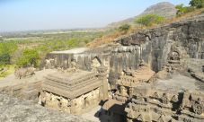 Looking down on the Ellora caves, carved from the mountain