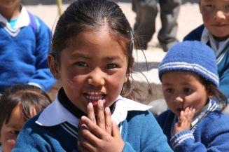 School children waiting for books we're bringing