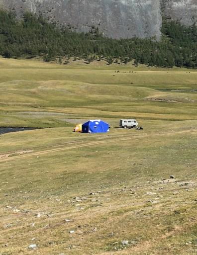 The campsite looks pretty far away