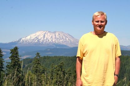 With Mt. St. Helens in the distance