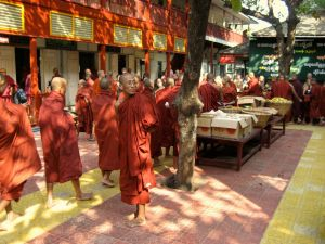 Feeding the monks in Amapura