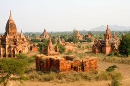 The remains of 2200 temples in Bagan on the banks of the Irrawaddy River