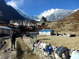 Going through a village on the Langtang trek