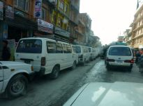 vehicles waiting days for petrol.