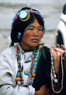 Woman selling trinkets in Llasa