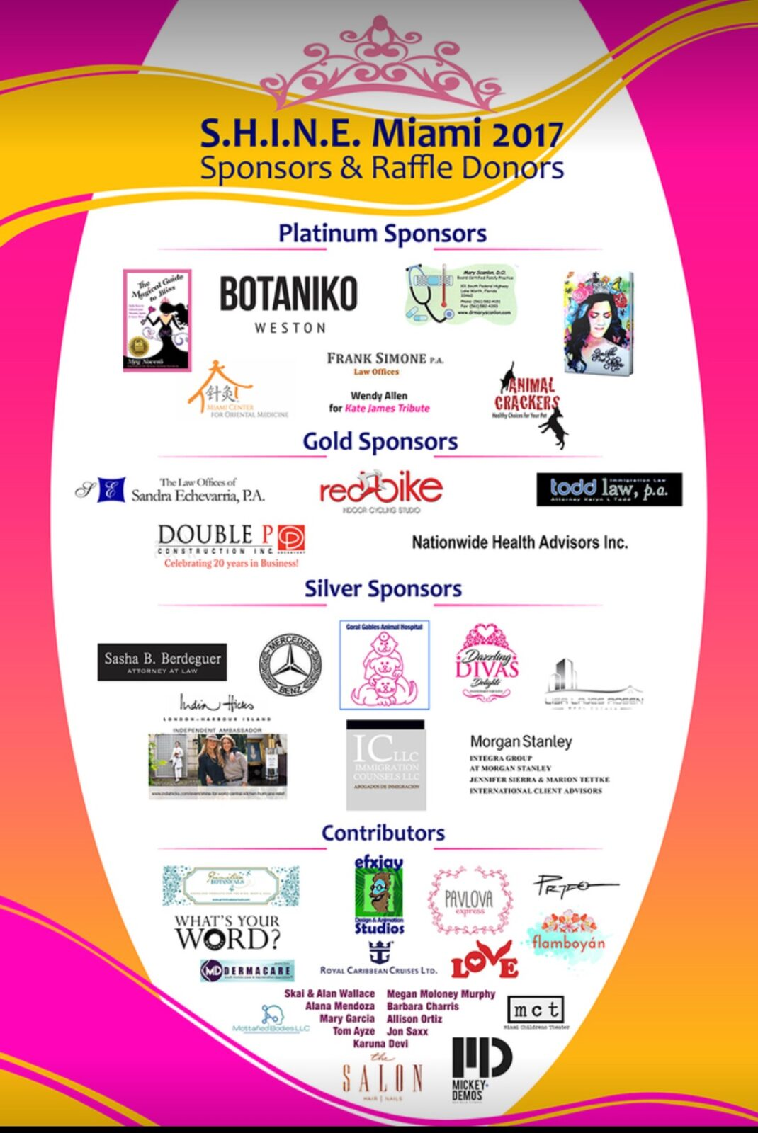 S.H.I.N.E. 2017: Amazing and Enticing Raffle Sponsors and Contributors