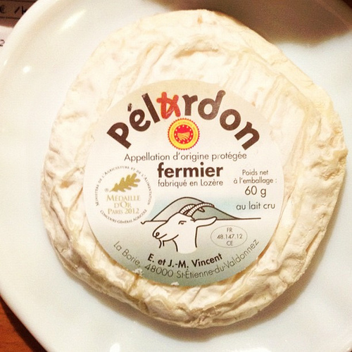 Pélardon. Just one of more than 10 cheeses we've eaten in last two days. Ooof!