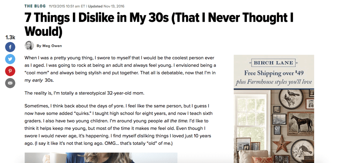 7 Things I Dislike in My Thirties (That I Never Thought I Would)