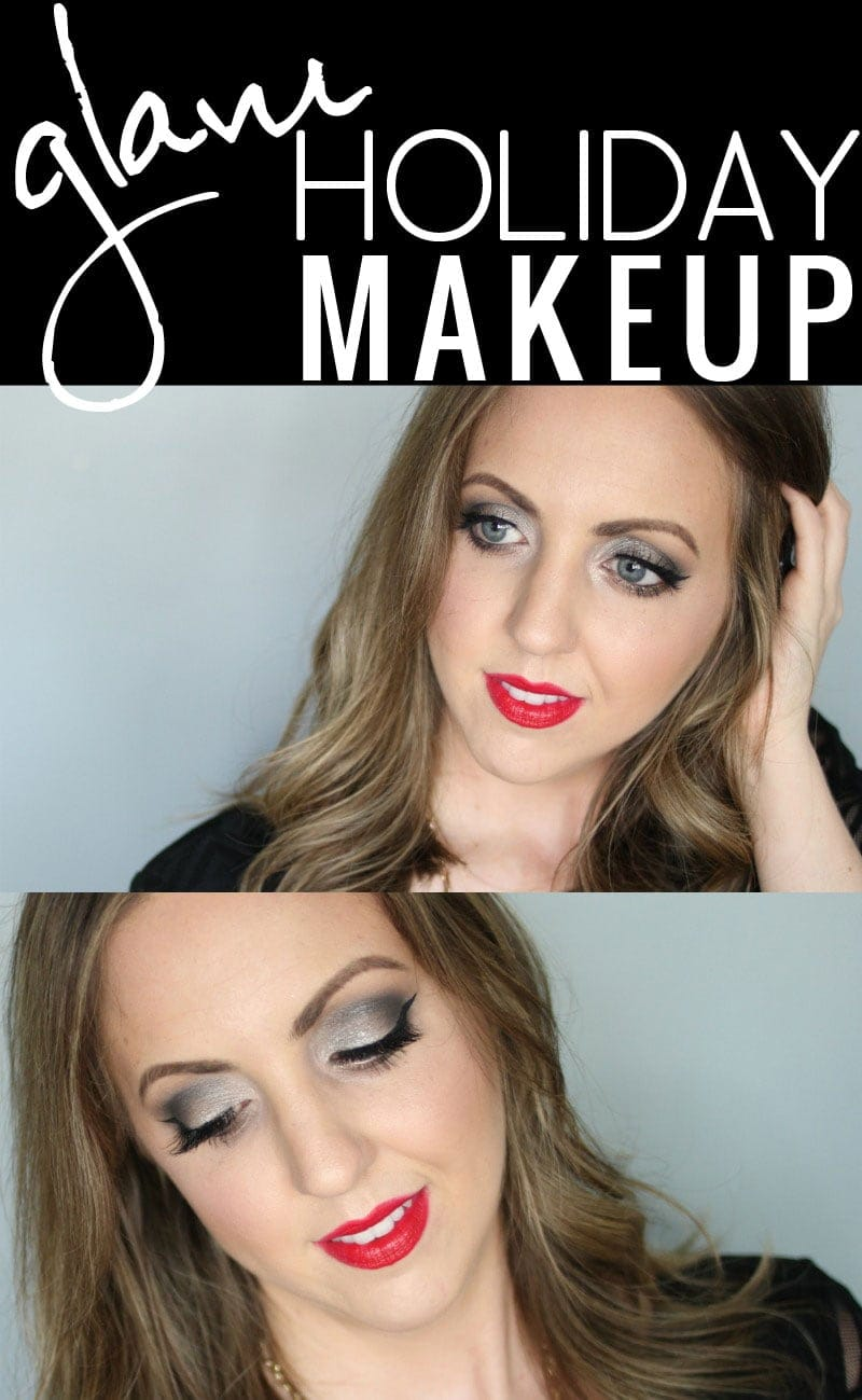 Glam Holiday Makeup - metallic smoky eye, winged liner, lashes, and red lips. Click through to see the tutorial!