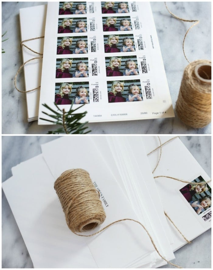 Tiny Prints postage and return address on envelopes