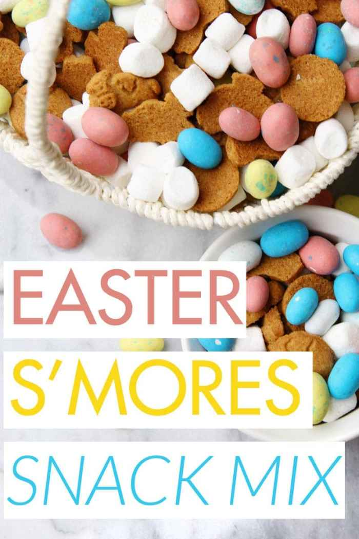 Easter Smores Snack Mix - Easy, festive, and delicious snack! Combine grahams, marshmallows, and chocolate eggs. Yum!