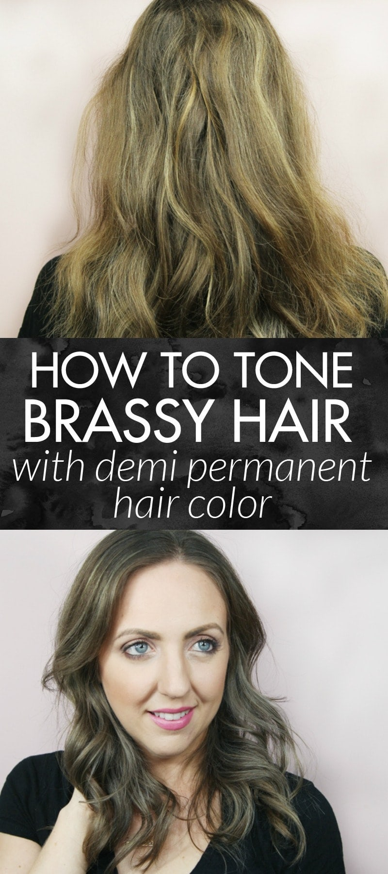 How to Tone Brassy Hair with Demi Permanent Hair Color - toning your hair at home is so easy and only takes 15 minutes!