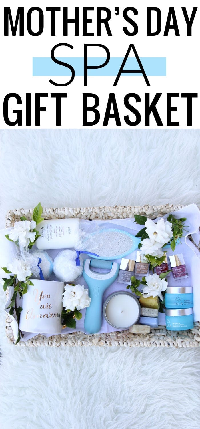 Gorgeous Mother's Day spa gift basket that is perfect! Every mom deserves some pampering!