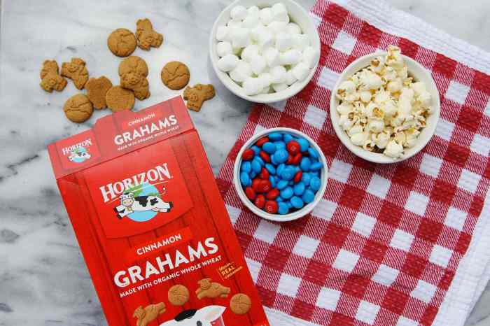 Patriotic Smores Popcorn Ingredients with Horizon Organic Grahams