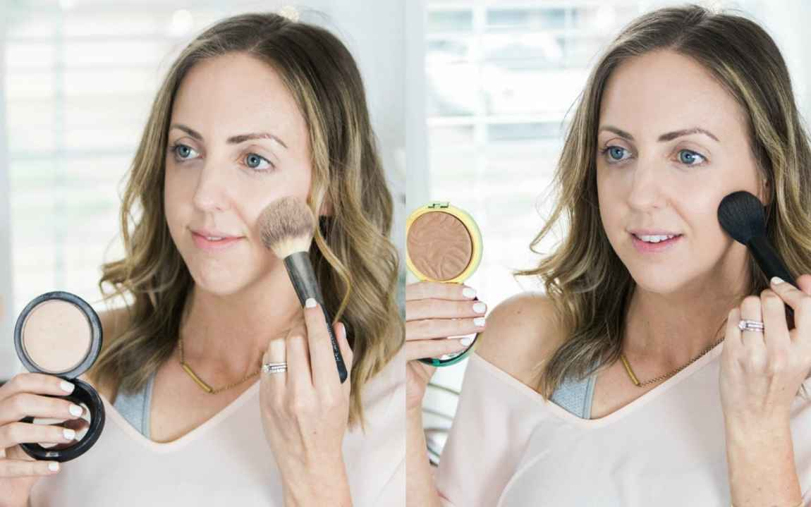 I always use a light dusting of powder and a bronzer in my 5 minute makeup routine