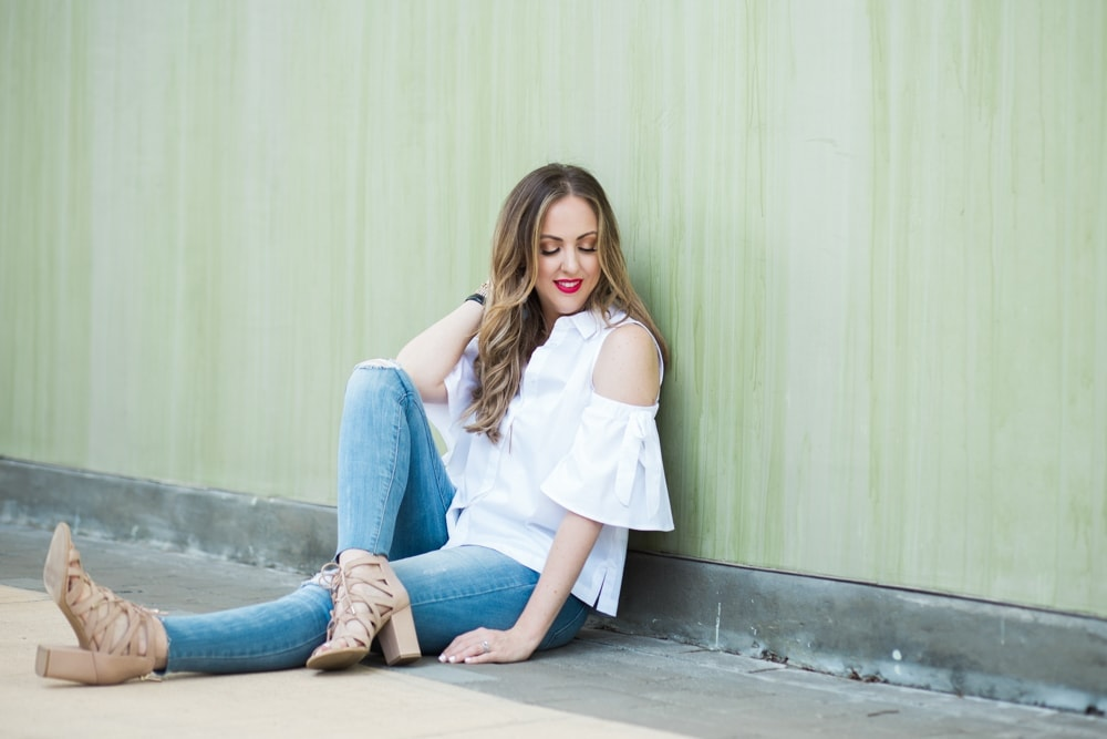 3 spring fashion trends - cold shoulder top, raw hem jeans, block heels