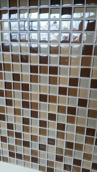 Backsplash in the kitchen. It is also incorporated into the two showers - So nice!