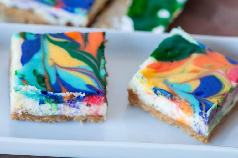 Rainbow Lemon Cheesecake Bars