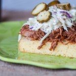 BBQ Pork Cornbread Stacks prove looks are deceiving. This fancy little dinner is incredibly simple to put together. BBQ, cornbread and coleslaw.